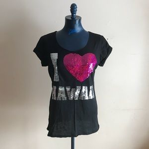 VS Pink Sequined I Love Hawaii SS Tee Shirt